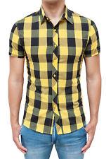 Camisa Hombre Slim Fit Cuadros Negro Amarillo Casual A Manga Corta XS S M L XL