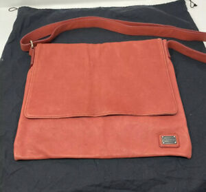 Dolce & Gabbana Red Leather Messenger Bag With D&G Dust Bag