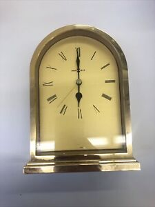 "ANTIQUE HOWARD MILLER CARRIAGE DESK ALARM CLOCK AA BATTERY,1"" GOLD"