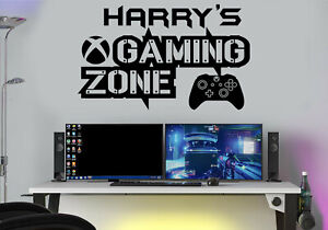 Gaming Zone Personalised Wall Stickers Decals XB Gamer Controller Wall Art Decal