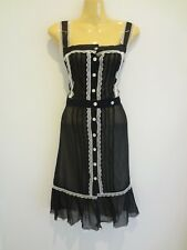 Stunning black sheer silk lace-trim designer Summer dress sz10 NWT