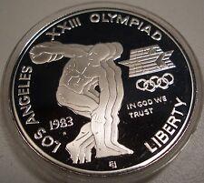 1983 & 1984 OLYMPIC COMMEMORATIVE PROOF SILVER DOLLARS SET BOX/COA