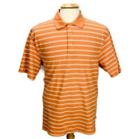 Callaway Sports Short Sleeve Orange White Stripe Cotton Polo Golf Shirt Men's XL