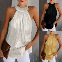 Women Summer Solid Sequined Sleeveless Casual Tunic Tops Ladies O-Neck Blouse
