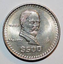1988 $500 PESOS coin MEXICO vintage world Madero snake 500 BU RARE UNCIRCULATED