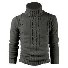 Kitz Druck Wolle Baumwolle Herren Pullover Mantel Wolljacke Dunkelgrau XL K5C9