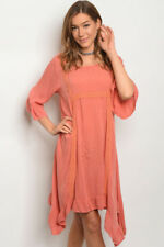 EASEL Size Small NEW 3/4 sleeve loose fitting tunic shift dress Apricot Color