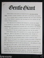 GENTLE GIANT 'THE POWER & THE GLORY' 1974 PRESS RELEASE