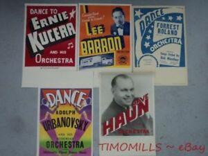 c.1947 Territory Band Ballroom Music Poster Lot  Vintage Original Mid-Century