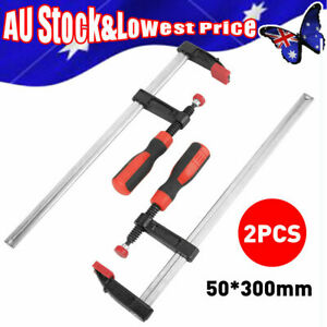 2 Pieces 50x 300mm Adjustable F Clamps Wood Woodworking Clamp Clip Bar Clamps AU