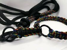 Black Rainbow Dog Collar And Lead Set. Handmade. Rope And Paracord