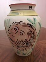 """NEW Hand Painted Large Ceramic VASE 10""""H  x  8""""W Made in Portugal"""