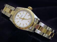 Ladies Rolex 2Tone 18k Gold/Stainless Steel Oyster Perpetual w/White Dial 67193