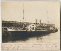 1930s Mounted Photo of S.S. Hamburg Ocean Liner in Port - Atlantic Steamship