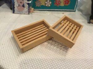 2 pcs Handmade Wood Bamboo Soap Dish Tray Case Holder Bathroom Storage Box