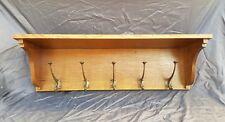 Nice Antique Wooden Oak Wall Rack / Shelf Coat Rack with art nouveau hooks.