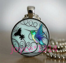 Vintage hummingbird Cabochon Tibetan silver Glass Chain Pendant Necklace #3410
