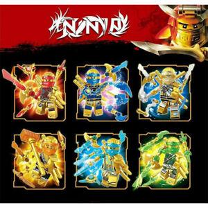 6Stk Ninjago Gold Crystal Mini Figures Kai Jay Cole Zane Nya Fit Lego Blocks Toy
