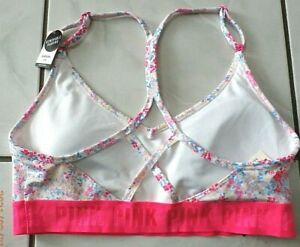 Victorias Secret PINK Ultimate Racerback Padding Sports Bra Floral Sz L D666