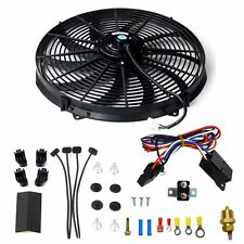 "16""ELECTRIC RADIATOR FAN HIGH 3000+CFM THERMOSTAT WIRING SWITCH RELAY KIT BLACK"