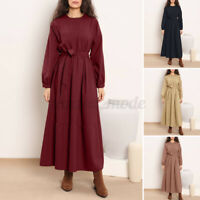 UK Womens Long Sleeve O Neck Tiered A-Line Belted Flare Swing Kaftan Maxi Dress