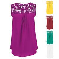 Fashion Women Plus Size Blouses Chiffon Lace Sleeveless Patchwork Tops T-Shirt