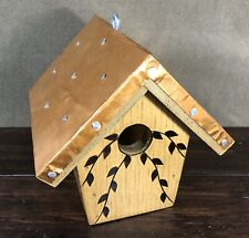 Wiodburned Copper Roof Hanging Wooden Birdhouse w/ Removable Bottom - Leaf Motif