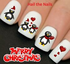 Nails WRAPS Nail Art Water Transfers Decals Christmas Love Heart Penguins Y767