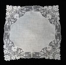 Vintage CREAM Brussels PRINCESS LACE Bridal Wedding HANKY Handkerchief EXC. COND