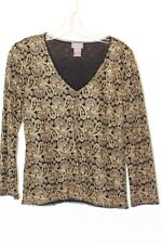 Sigrid Olsen Elegant top with tan/gold stitching and small black ruffle detail M