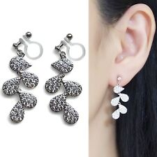 Cubic Zirconia Dangle Bridal Pave CZ Silver Crystal Invisible Clip On Earrings