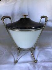 Nice Mcm Vintage Fire King Cream/white Chafing dish Warmer Fondue set 1950s