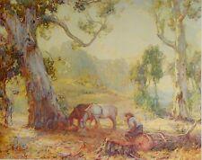 """Sir Hans Heysen, """" A Morning Spell """" 1910. Original Australian Art Print."""