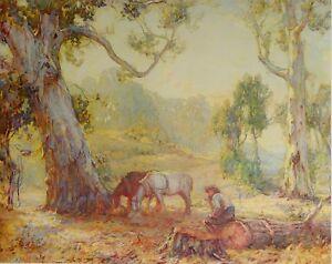 """Hans Heysen, """" A Morning Spell """" 1910. Original Australian Art Print."""