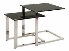 Set Of 2 Chrome & Black Tempered Glass Side End Tables