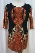 Ronni Nicole Dress Sz 12 Black Red Multi Color 3/4 Sleeve Casual Sweater Dress