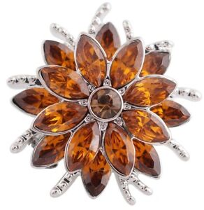 Silver Orange Rhinestone Flower 20mm Snap Charm Button  For Ginger Snaps