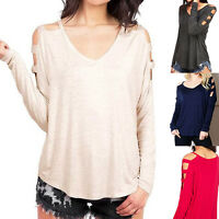 Womens Open Cold Shoulder V-Neck Dolman Batwing L Sleeve Tunic Top Blouse Shirt
