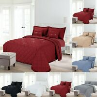 Embossed Quilted Bedspread Double King Size Comforter Bed Throw Set & Pillowcase