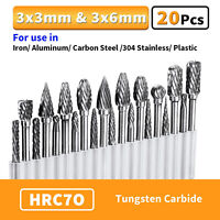 20Pcs Head Tungsten Carbide Rotary Burr Die Grinder Bit Shank Carving Set 6mm
