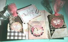 Handcrafted Mixed Media Journal Cards Tags Prima Pink Lace Butterfly Love Folder