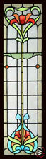 Antique Stained Glass Window Art Nouveau FLORAL BEAUTY