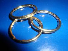 "12 Solid Brass 1"" OD Split Key Rings  -  POLISHED"