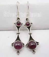 "Gemstone Factory Direct Earrings 1.8"" Oxidized 925 Sterling Silver Red Garnet 2"