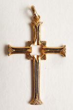 Croix pendentif en métal doré  Bijou ancien vers 1940 chapelet cross