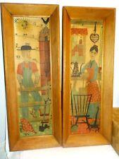 "Vintage Linen Country Prints By Robert Darr Wert 17"" x 7"" Folk Art 1950s or 60s"