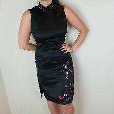 Topshop Vintage Size 10 Black Red Satin Stretch Slit Floral Oriental Midi Dress