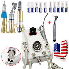 Dental Portable Air Turbine Unit+ High Speed +Slow Speed Handpiece+Drill Burs*10