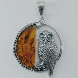 BALTIC AMBER Owl Pendant 925 STERLING SILVER Poland #4051