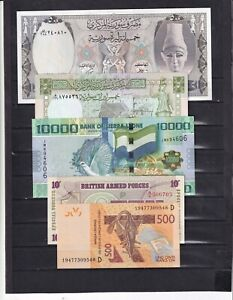 WORLD LOT OF 5 DIFFERENT BANKNOTES..AUNC/UNC.